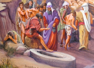 Joseph's brothers sell him to passing traders on their way to Egypt