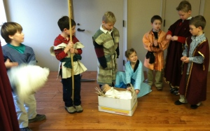 1st graders enact the story - shepherds arrive