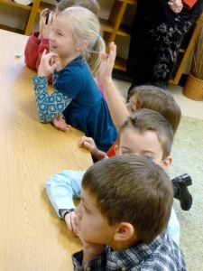 2nd graders wait for the questions to be asked