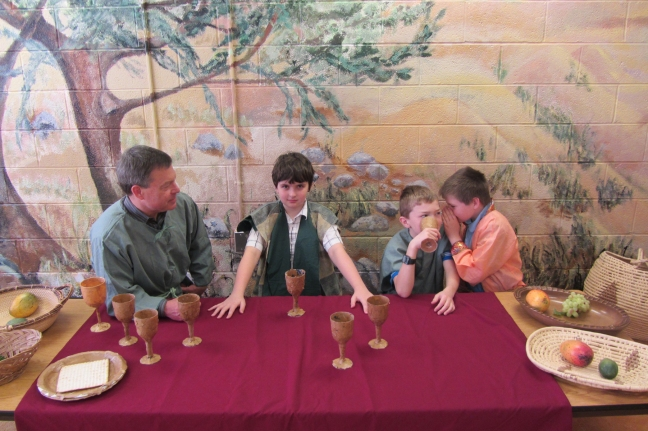 The 4th graders re-enact Leonardo da Vinci's painting, The Last Supper