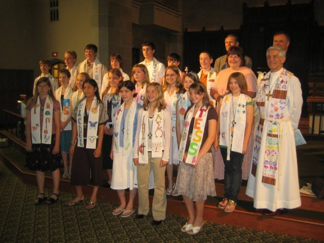 A group photo of a past Confirmation class