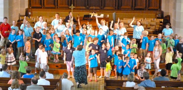 Kids sing songs from VBC in church
