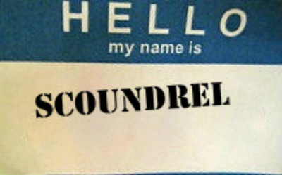 a name tag: hello my name is scoundrel