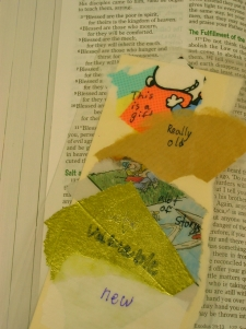 Bible bookmark made from layers of wrapping