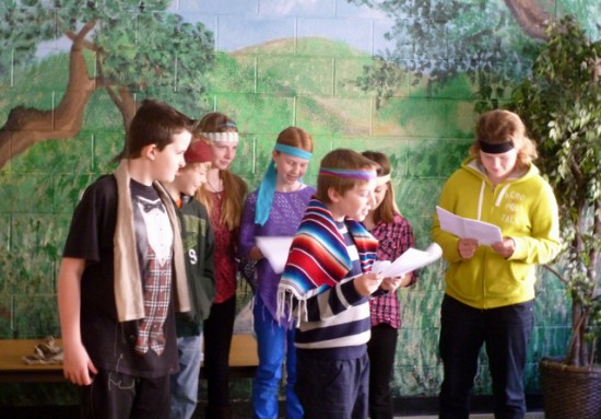 5th & 6th graders put on a skit