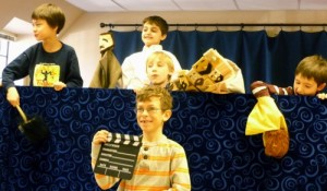 2nd graders in the Puppet Workshop