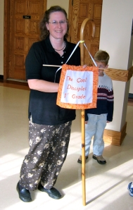 The first grade Shepherd with the banner