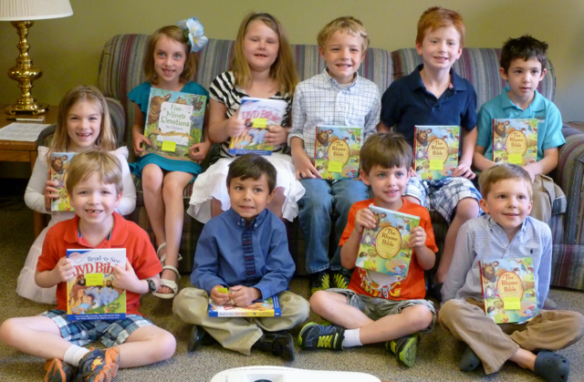Kindergarteners with their new Bibles
