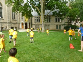 A tag game out on the lawn