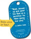 Reverse side of a Bible Buddy has the day's BIble verse