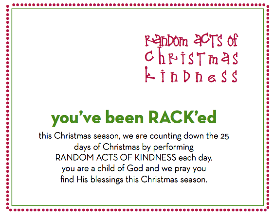 Rack'ed: Random Acts of Christmas Kindness