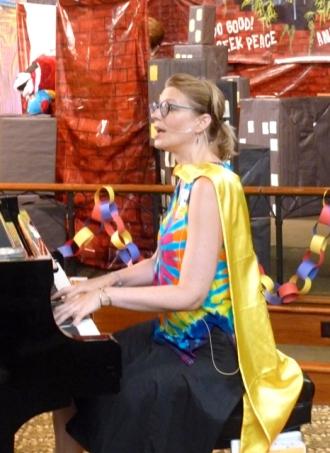 Captain plays piano