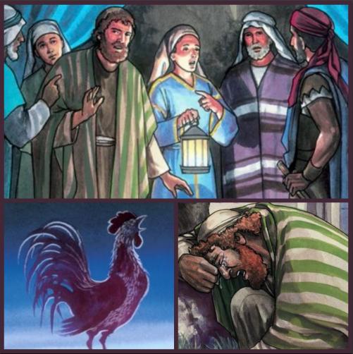 Peter denies knowing Jesus